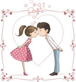 Couple Kissing Vector Cartoon Royalty Free Stock Photo