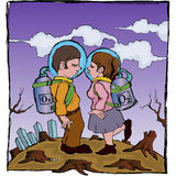 Couple kissing wearing astronot uniform on dry land background Royalty Free Stock Photography