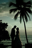 Couple kissing after a wedding at the beach Stock Photo