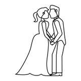 Couple kissing wedding romantic outline Stock Photos