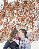 Couple kissing on winter vacation Stock Photo