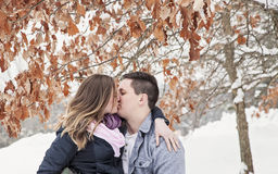 Couple kissing on winter vacation Royalty Free Stock Photo