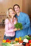 Couple at kitchen Royalty Free Stock Photography