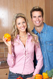 Couple at kitchen Stock Image