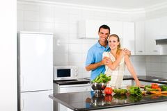 Couple in kitchen Stock Photo