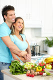 Couple at kitchen Royalty Free Stock Photos