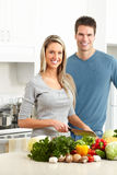 Couple at kitchen Stock Photography