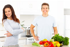Couple at kitchen Royalty Free Stock Photo