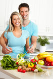 Couple at kitchen Stock Photo