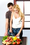 Couple at kitchen Stock Photo