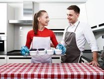 Couple at kitchen Royalty Free Stock Photo