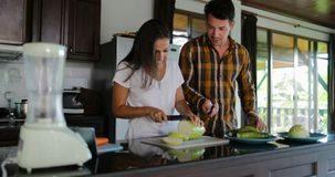 Couple In Kitchen Cooking Together, Woman And Man Talking Cut Vegetables To Prepare Healthy Dinner stock video