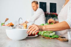 Couple on kitchen cooks together Stock Image