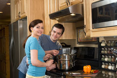 Couple in the Kitchen - Horizontal Stock Images