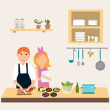 Couple in the kitchen using electronic tablet for cooking.illust Stock Photography