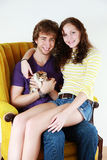 Couple with kitten Stock Photography