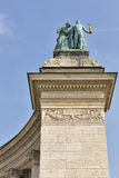 Couple of knowledge and glory sculpture. Heroes square, Budapest, Hungary. Stock Photo