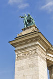 Couple of knowledge and glory sculpture. Heroes square, Budapest, Hungary. Stock Photography