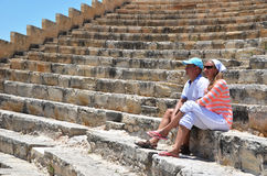 A couple in the Kourion's amphiteater Royalty Free Stock Images