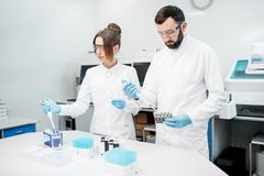 Laboratory assistants working with test tubes. Couple of laboratory assistants in uniform working with analysis in test tubes at the medical laboratory Royalty Free Stock Photo