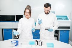 Laboratory assistants working with test tubes. Couple of laboratory assistants in uniform working with analysis in test tubes at the medical laboratory Royalty Free Stock Photography