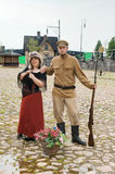 Couple of lady and soldier in retro style picture Stock Photo