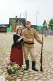 Couple of lady and soldier in retro style picture Royalty Free Stock Photography