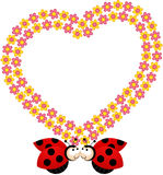 Couple ladybirds with flower heart frame Royalty Free Stock Photos