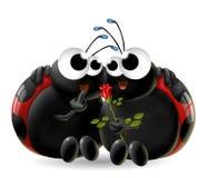 Ladybugs with rose royalty free illustration