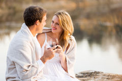 Couple lake wine Stock Photography