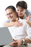 Couple on laptop Royalty Free Stock Image