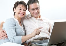 Couple on laptop Royalty Free Stock Photography