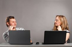 Couple with laptop Stock Image
