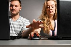 Couple with laptop Royalty Free Stock Photography