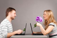 Couple with laptop Royalty Free Stock Photo