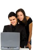 Couple on a laptop computer Royalty Free Stock Photos