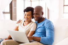 Couple laptop computer Stock Photo