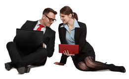 Couple on Laptops Royalty Free Stock Images