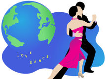 Latin dancers. Couple of latin dancers performing and the globe in the background Royalty Free Stock Photo