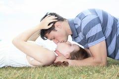 Couple lay grass Royalty Free Stock Photos