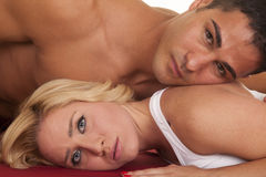 Couple lay his head on her shoulder both look Royalty Free Stock Photo