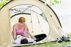 Couple laying in tent Stock Photos