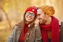 Couple in leaf fall Royalty Free Stock Photos