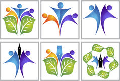 Couple leaf logo Stock Photos