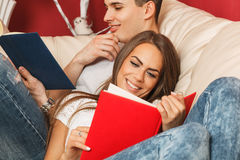 Couple learning at home Royalty Free Stock Photography