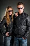 Couple with leather jackets Stock Photos