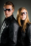Couple with leather jackets Royalty Free Stock Photos