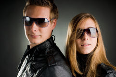 Couple with leather jackets Stock Photo
