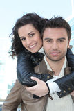 Couple in leather jackets Royalty Free Stock Image
