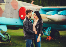 Couple in leather jackets Stock Photo